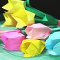 折り紙で立体チューリップの試作5つ★年度終わりに幼稚園の先生にプレゼント♪