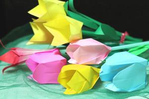 折り紙で立体チューリップの試作★年度終わりに幼稚園の先生にプレゼント♪