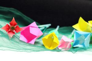 折り紙で立体チューリップ★上から見たところ