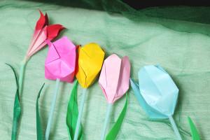 折り紙で立体チューリップ★試作4つ